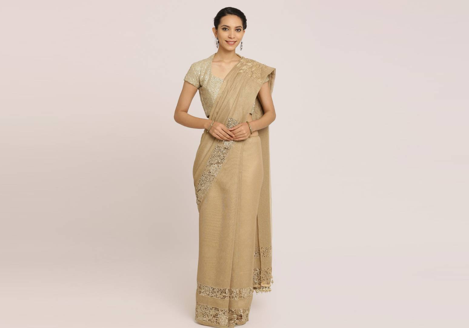Dull Gold Cotton Tissue Saree