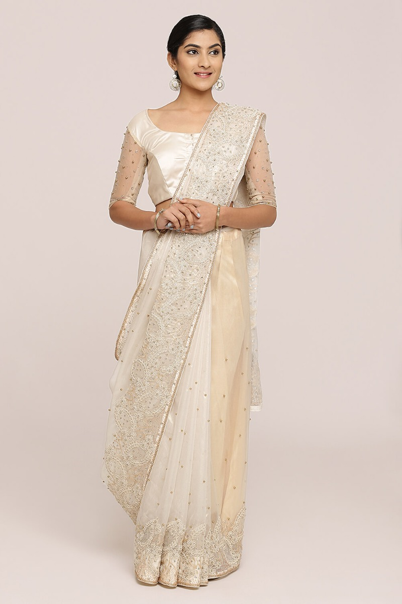 Off-White Gold Glaze Organza Saree