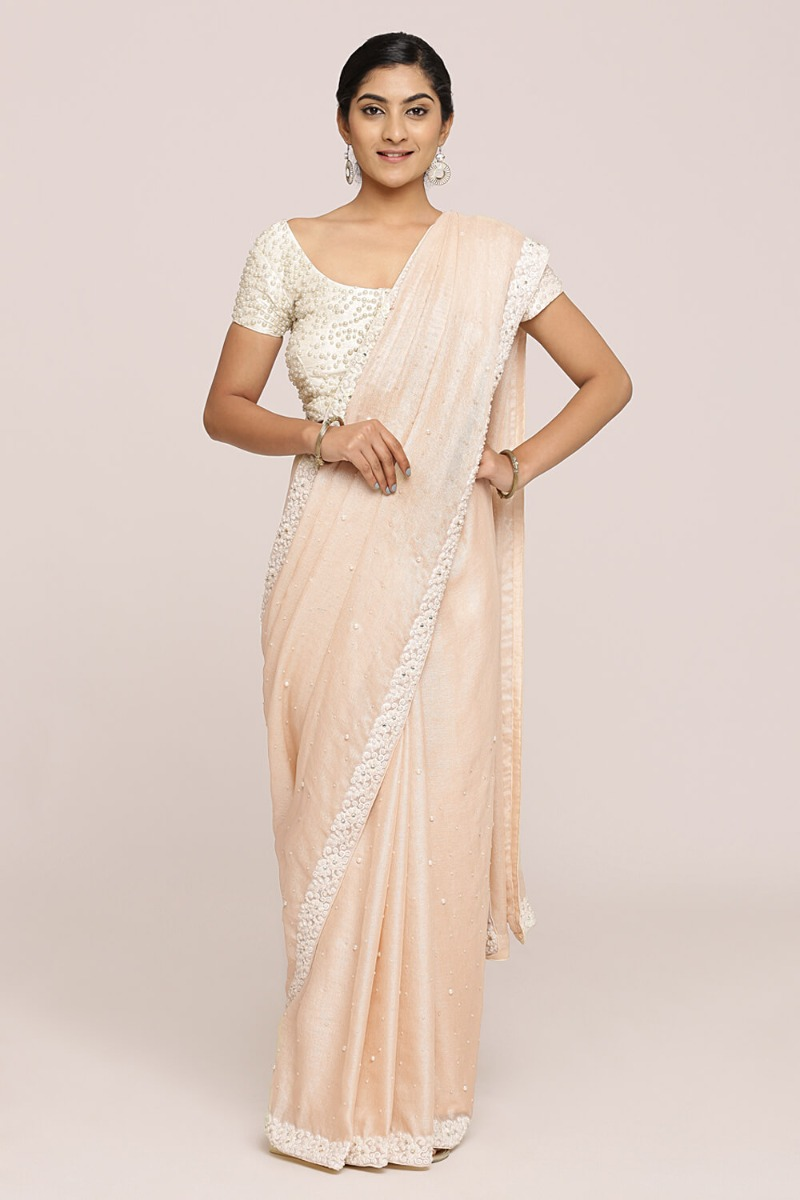 Rose Gold Jute Blend Saree