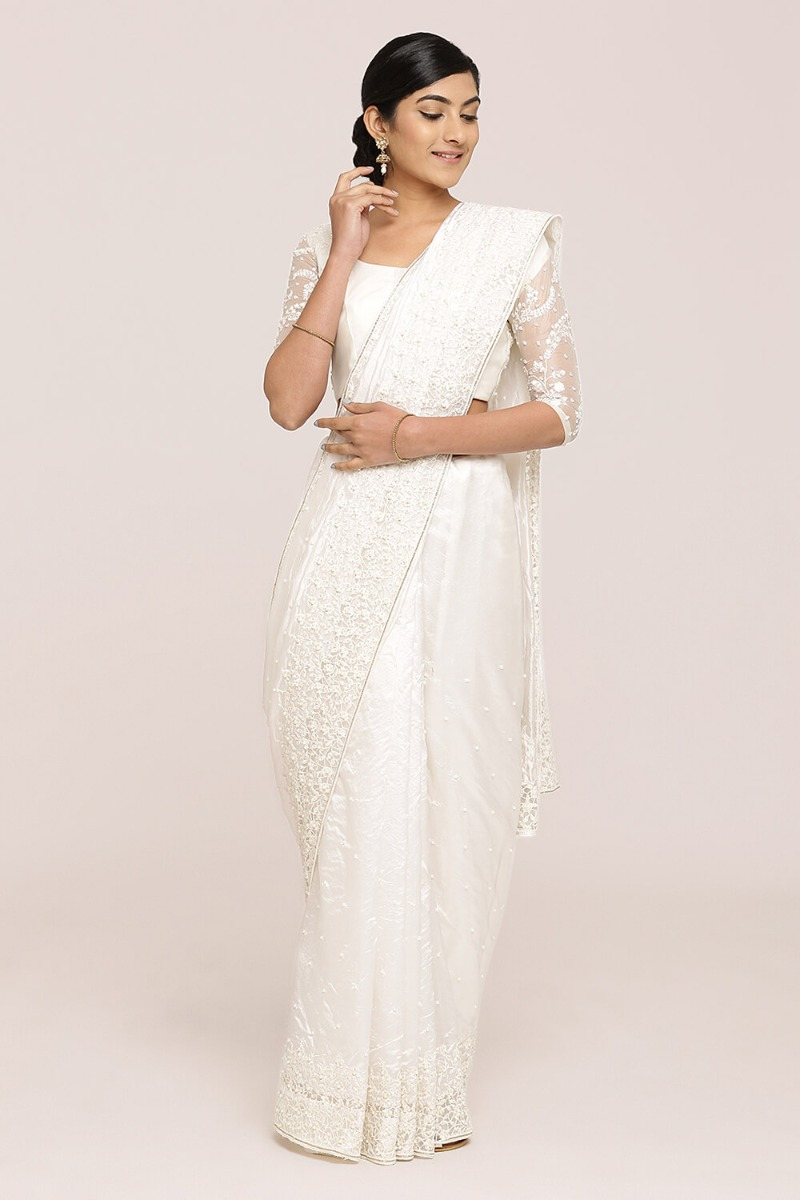 White Silk Saree
