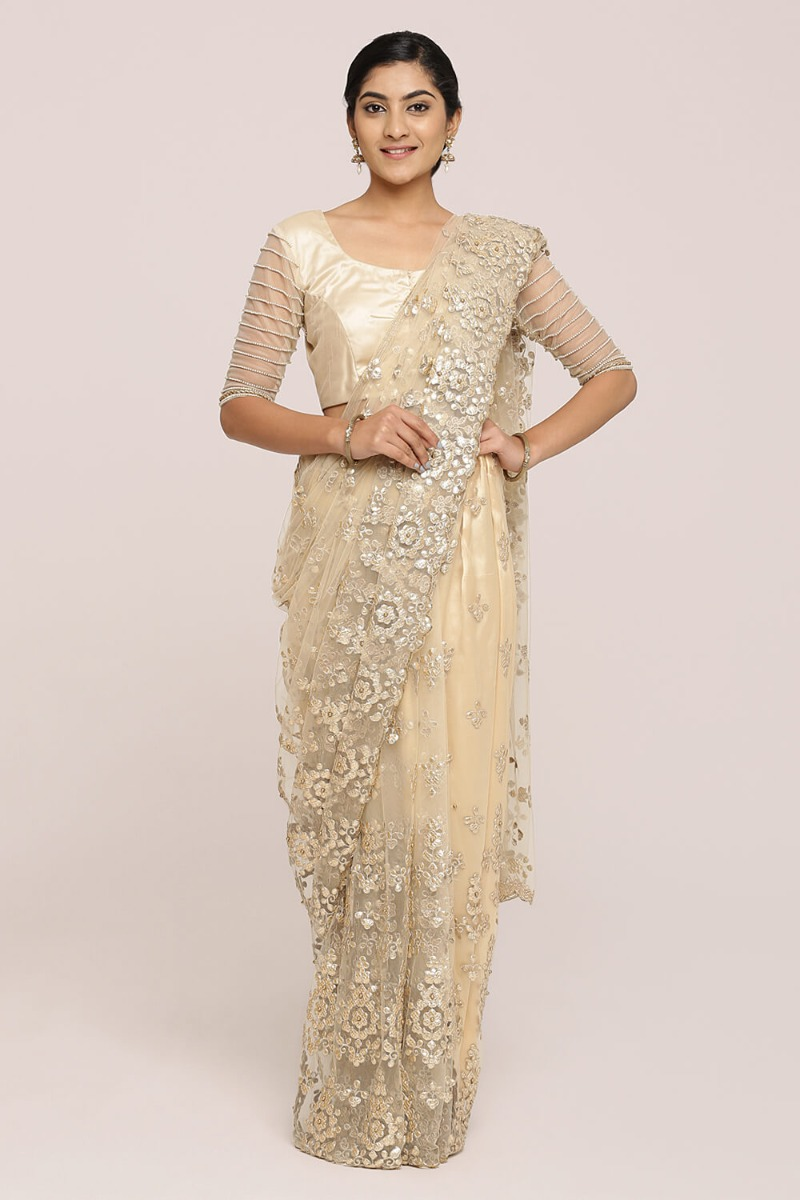 Dull Gold Gota Work Saree