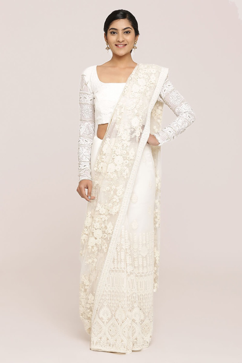 Off-White Partly Saree