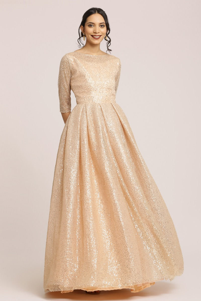 Full Sequin Tulle Net Gown