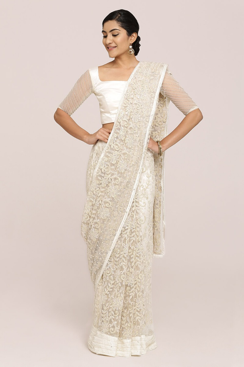 Silver Ivory Lace Saree