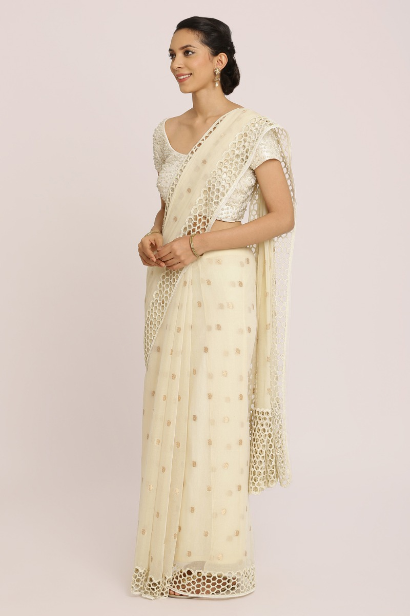 Light Beige Glass Georgette Saree
