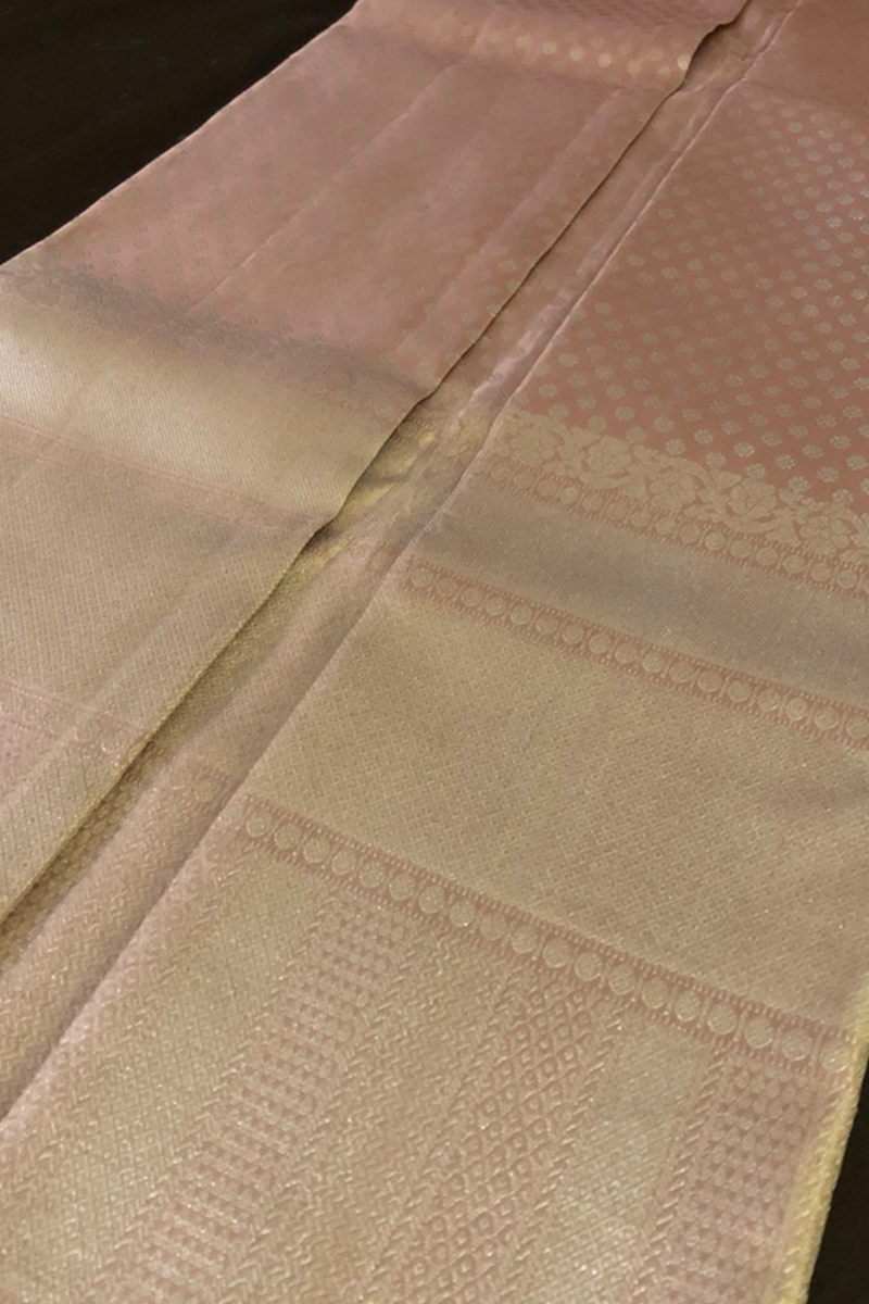 Deep Salmon Bridal  Kanchivaram Saree with Silver Zari weaving