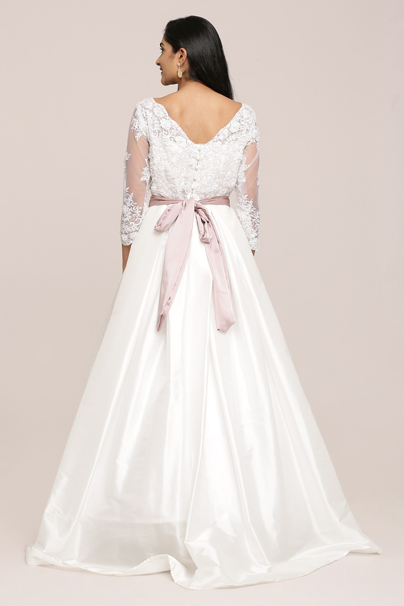 White Embellished A-Line Wedding Gown