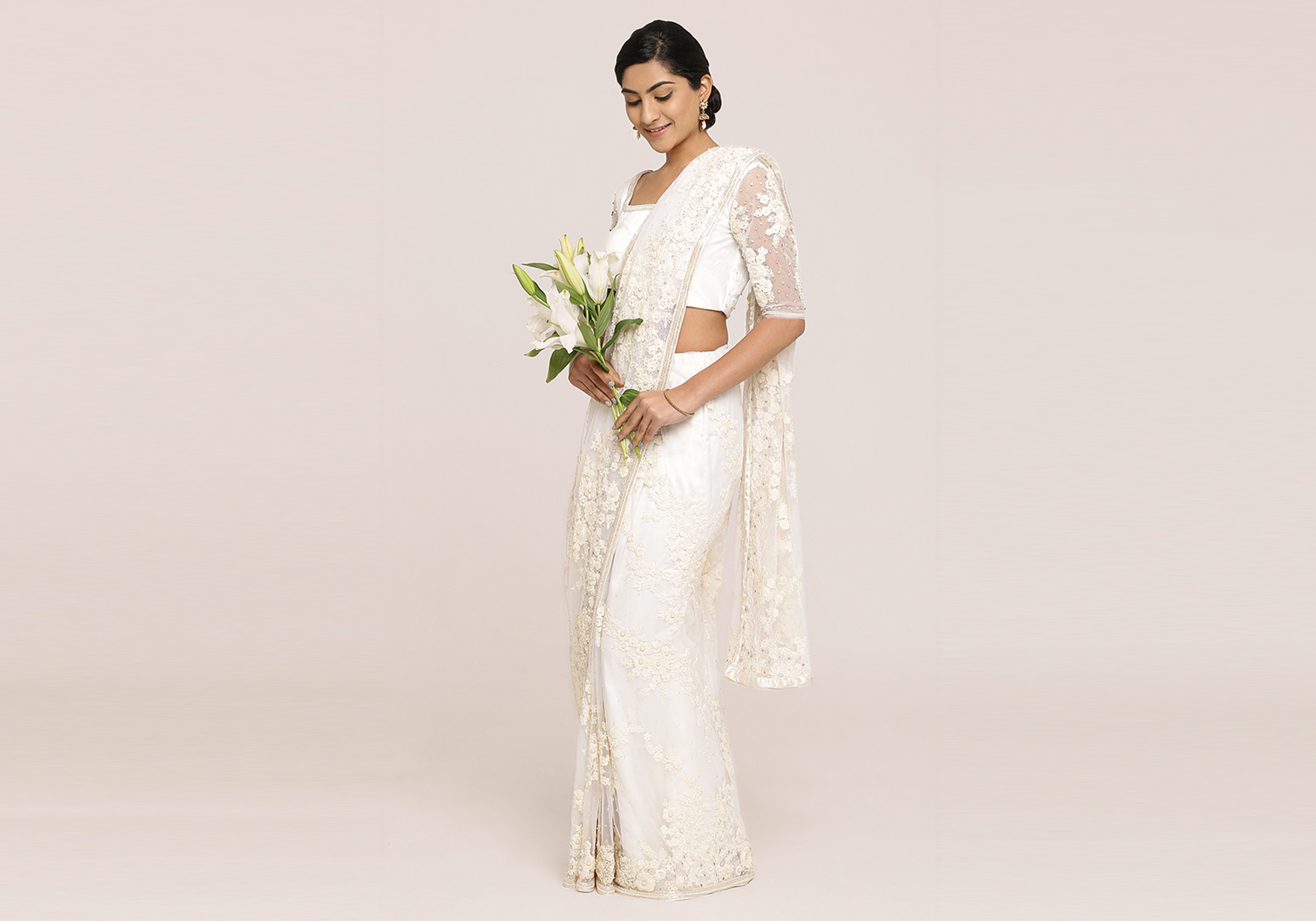 Fully Thread Embroidered Net Saree