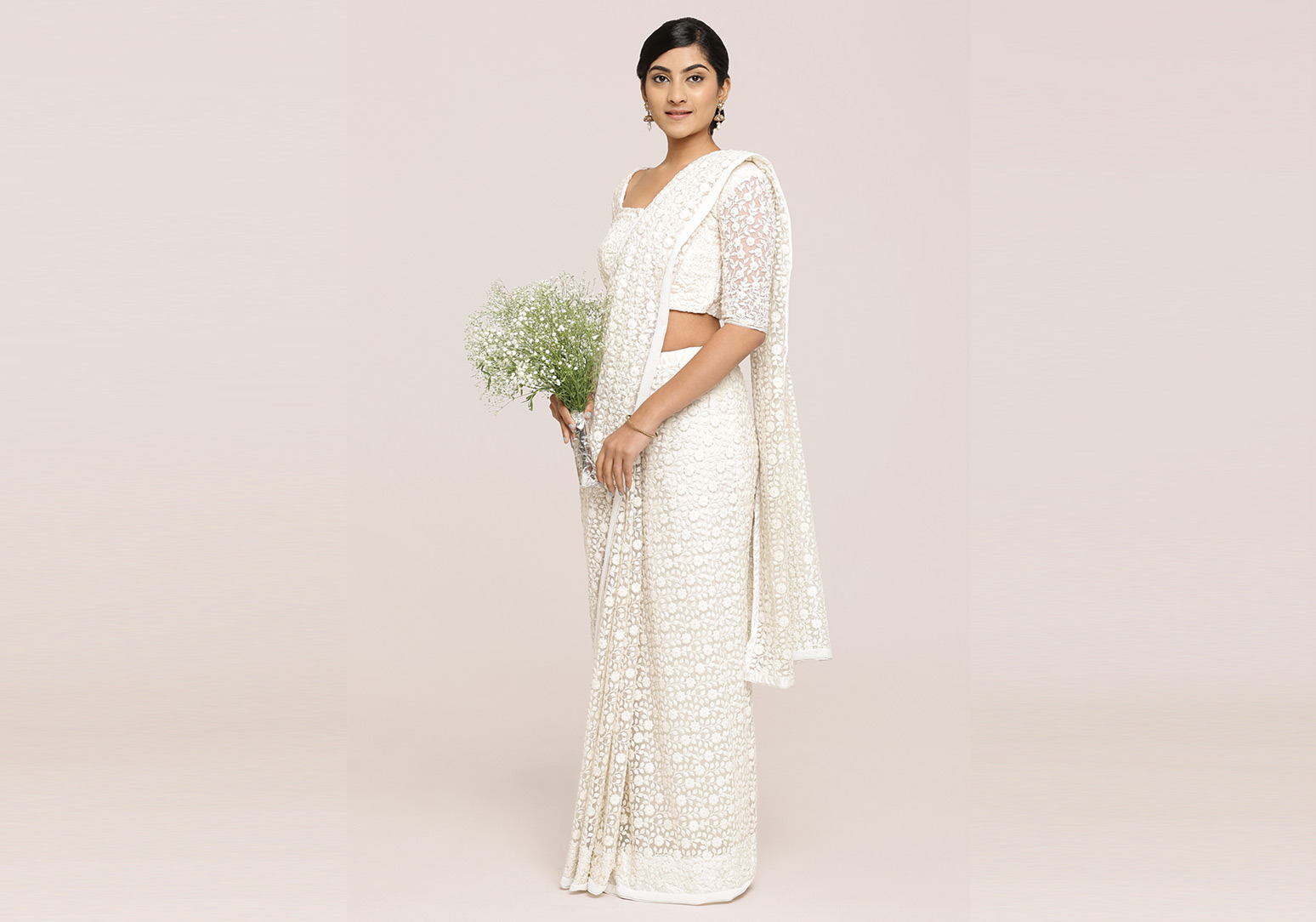 Fully Thread Embroidered Off-White Saree