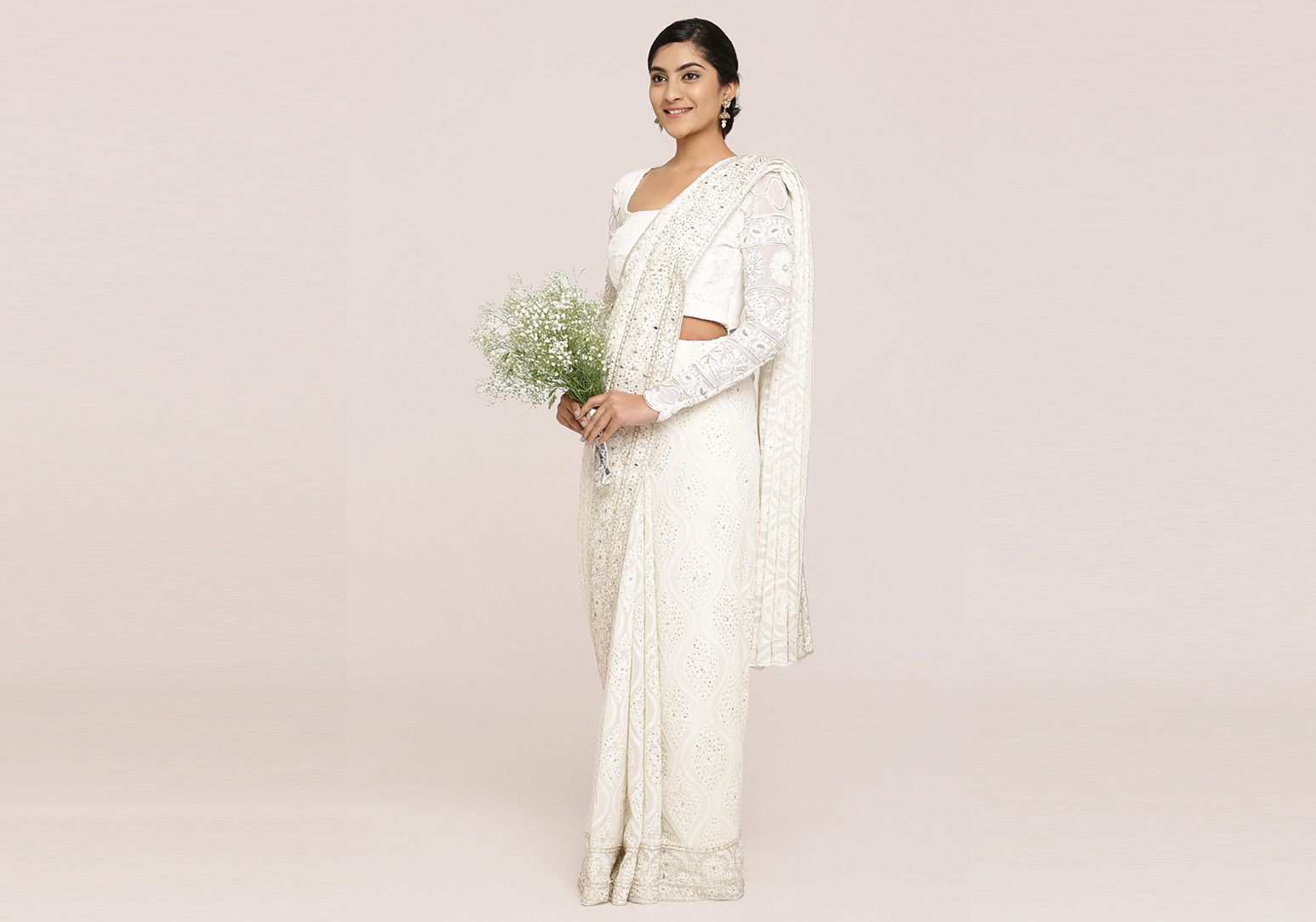 Off-White Lucknowi Work Georgette Saree