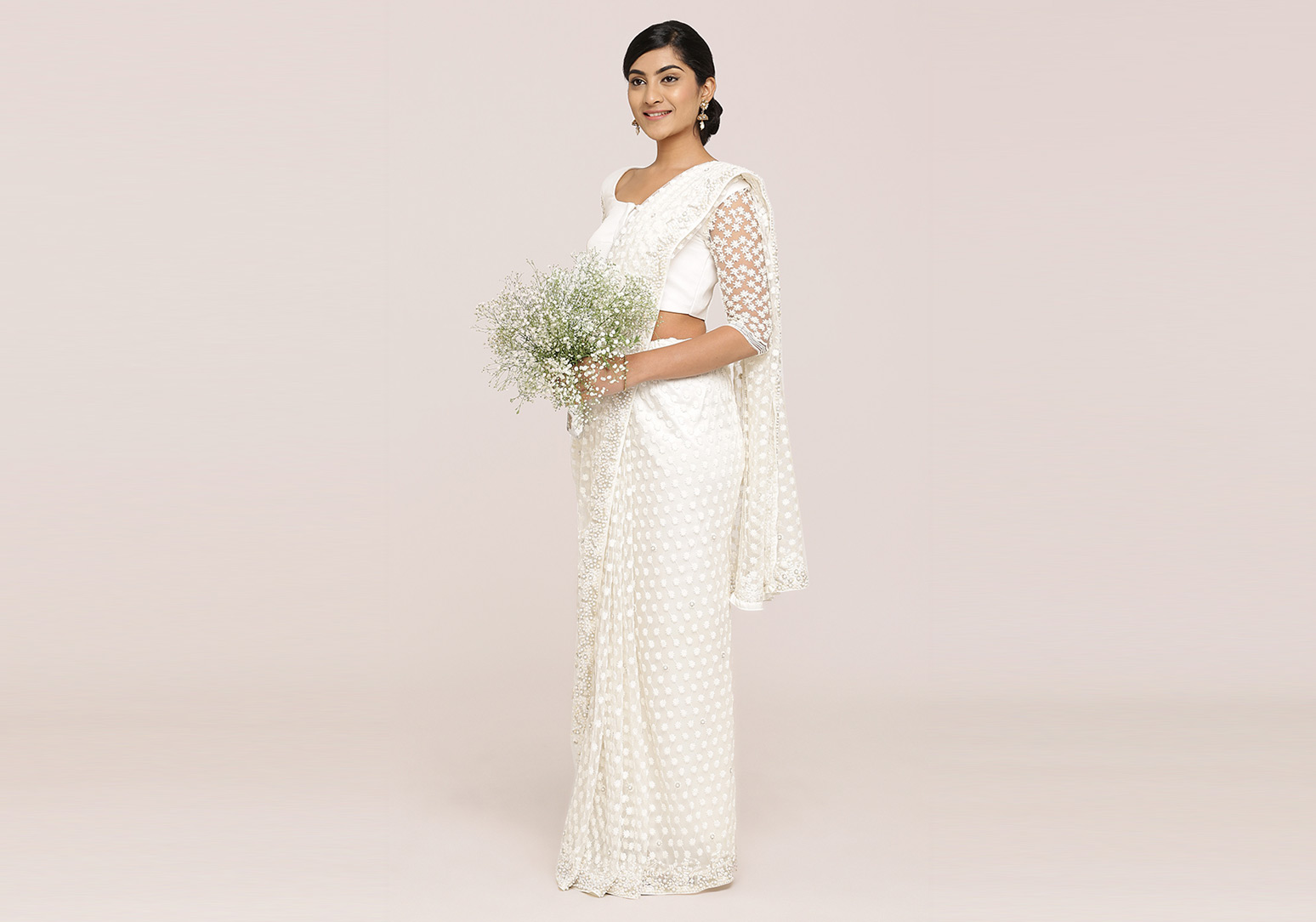 Off-White Floral Embroidered Saree
