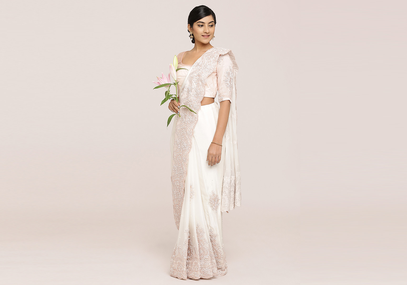 Off-White Pure Silk Crepe Saree
