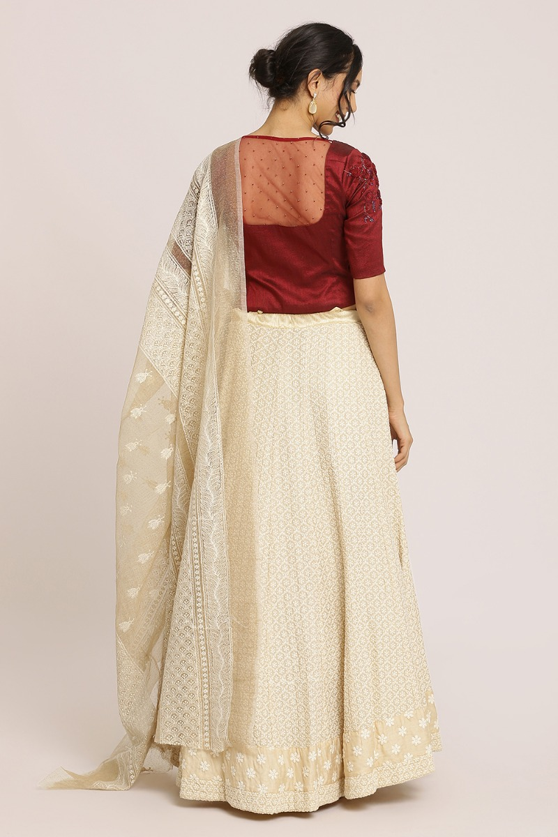 Lucknowi Thread Embroidered Lehenga