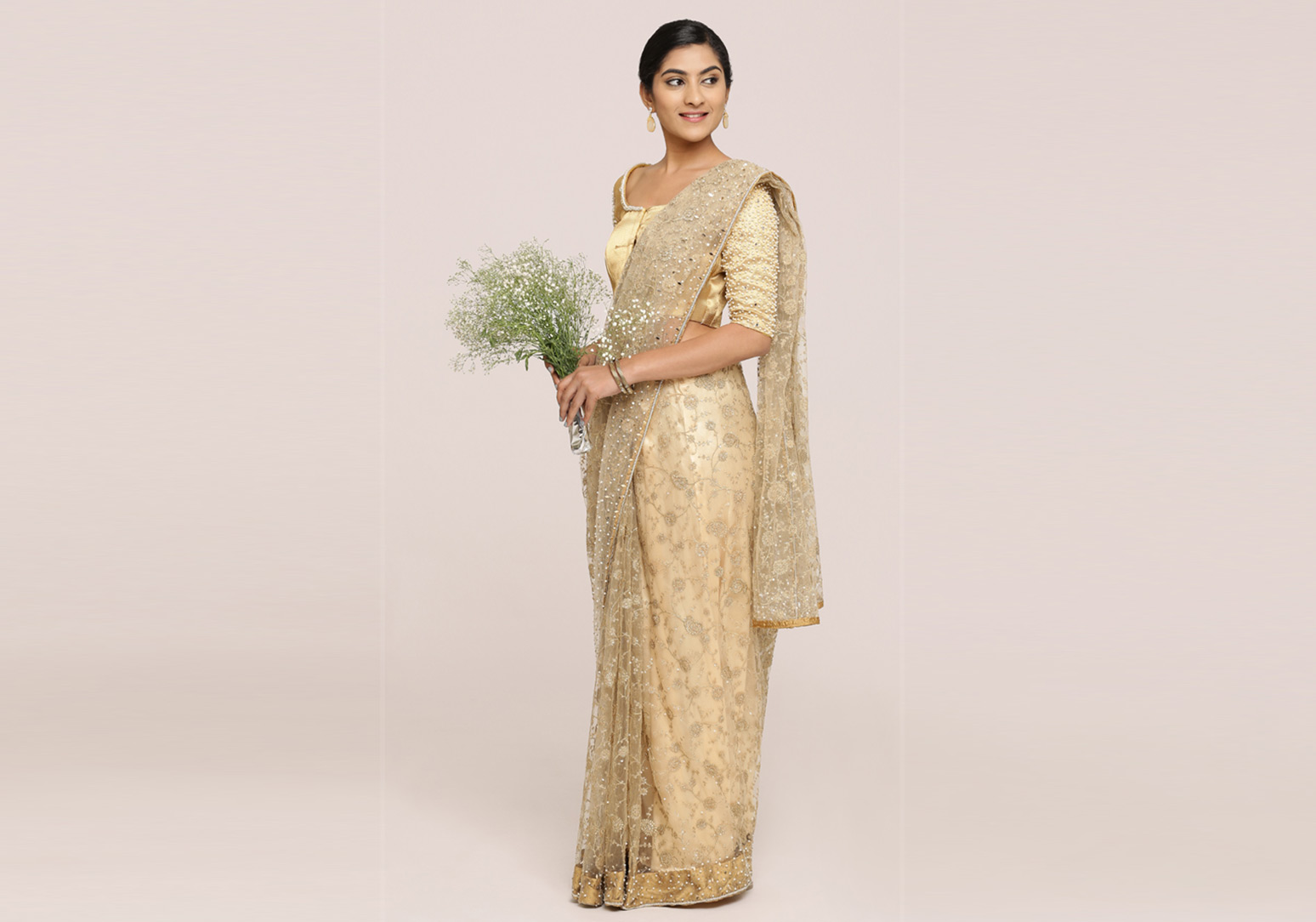 Golden Fully Zari Embroidered Saree