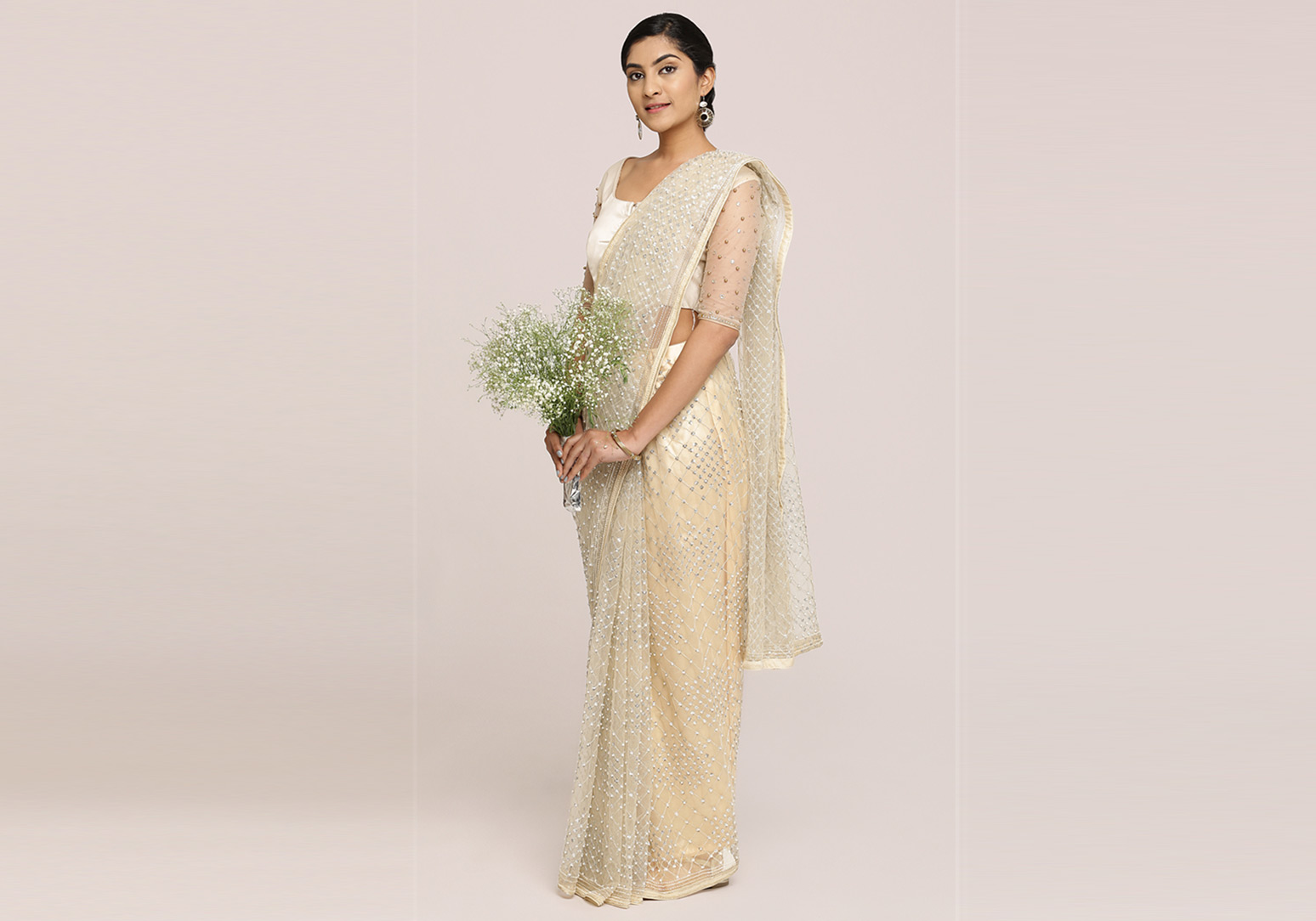 Off-White To Light Butter Net Saree