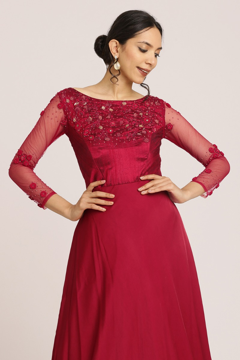 Deep Red Party Gown