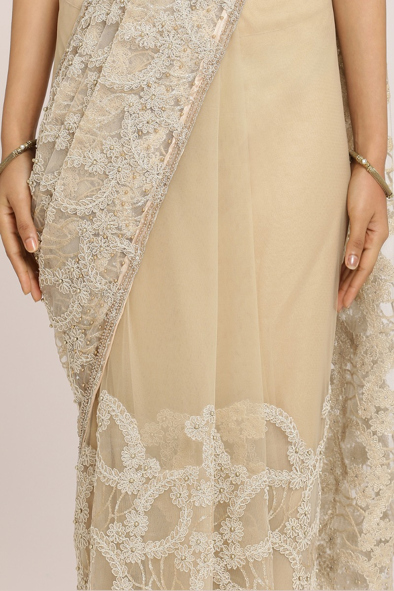 Light Beige Embroidered Saree