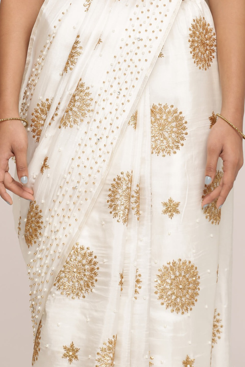 Off-White Saree