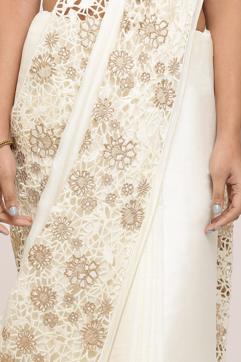 Off-White Silk Saree