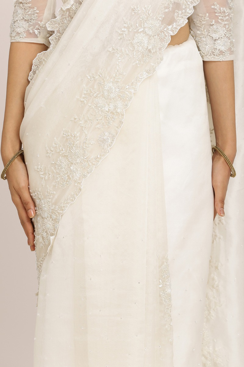 Off-White Organza Saree