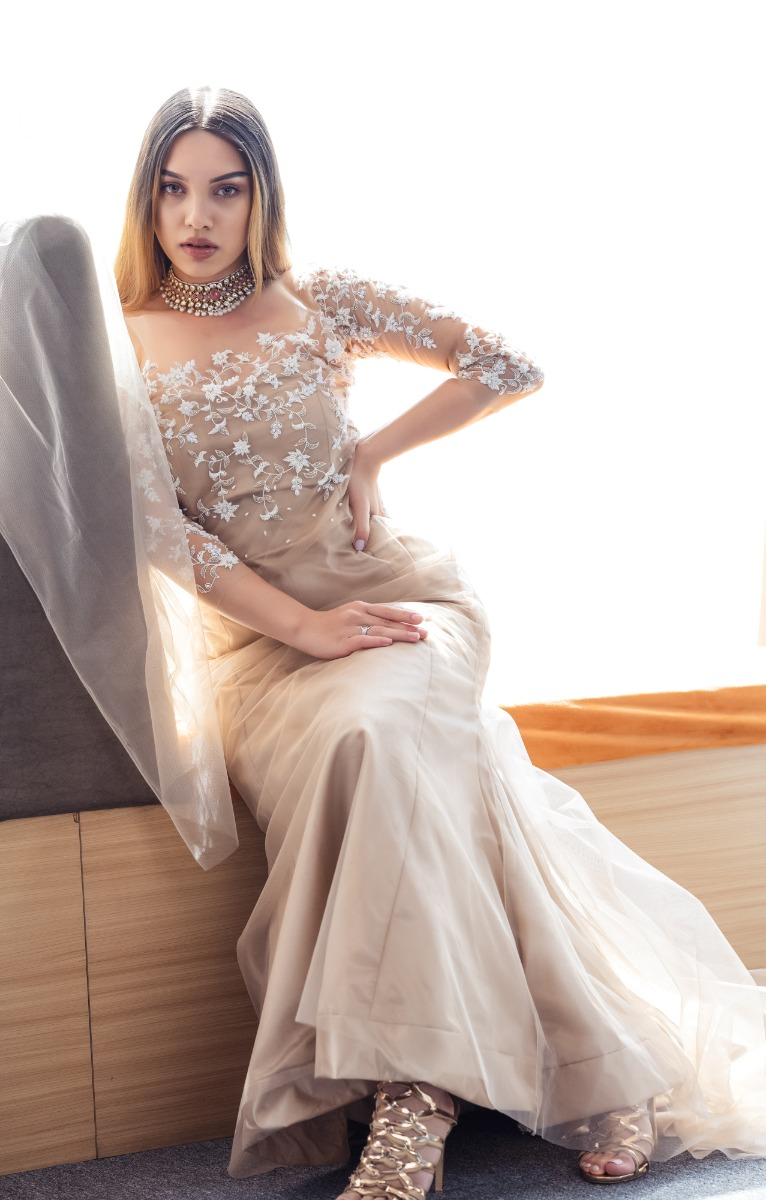 Rosegold Illusion mermaid Wedding  Gown in tulle with a long trail and hand embroidered bodice