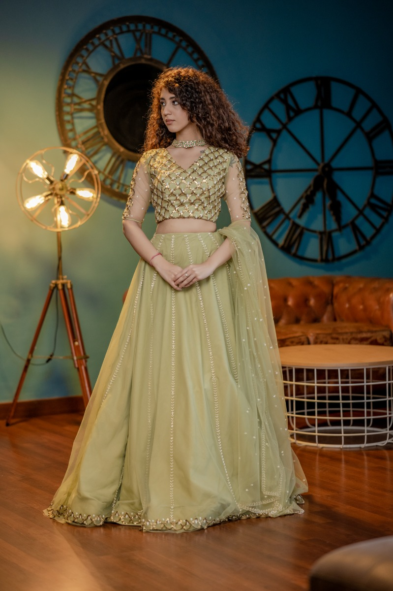 Pastel Shade Mint green striped Bridal Lehanga with hand embellisehd blouse and dupatta