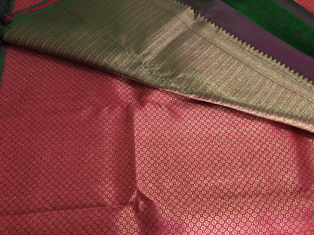 Deep Red with antique golden jeri fully woven Bridal Kachivaram saree with beautifully woven pallu on bottle green with a green patti running all over