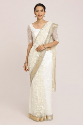 Embroidered White Net Saree