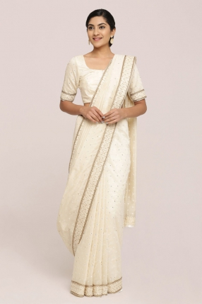 Butter Cream Off-White Chanderi Saree