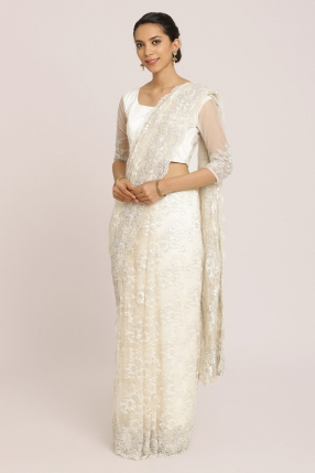 Off-White Chantilly Saree