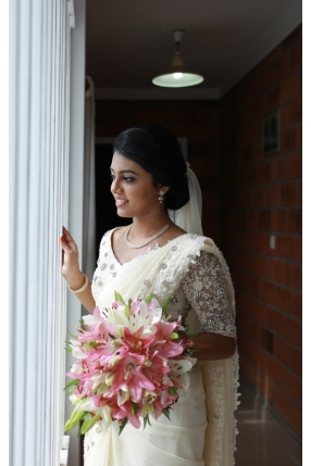 Beautiful Signature Bridal Saree from our collection  Carried by pretty bride Sharon  on her wedding