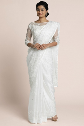 Pearl white Satin Organza saree with thread embroidered and water sequin embellished border