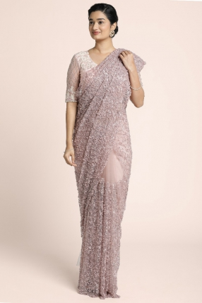 Fully embroidred and heavy pearl embellished double net tulle saree