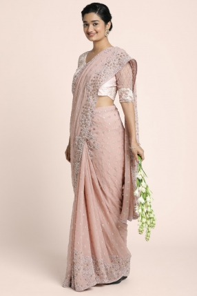 Dusty Rose  georgette saree with intricate glass bead floral work borders