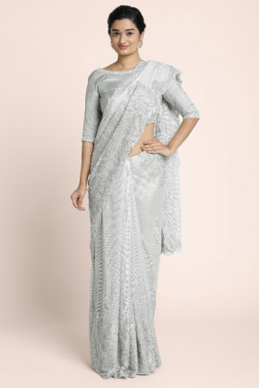 Heavy silver lace embroidered work with pearl beads and cut beads on a silver sheen net saree