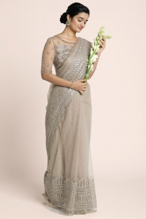 Fully hand embroidered statement saree in champage mauve shade with the verses of psalm 128 inscribed