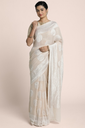 Pure Benarasi saree in  Silver Jeri Woven on a nude shade georgette saree