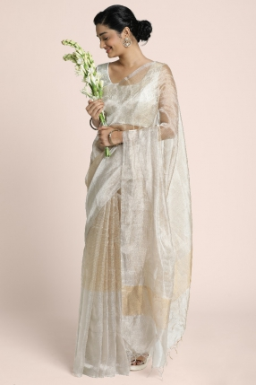 Benarasi tissue saree with silver stripes body and broad bhavinchi border in silver