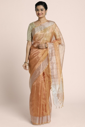 Benarasi copper tissue saree with silver zari woven border
