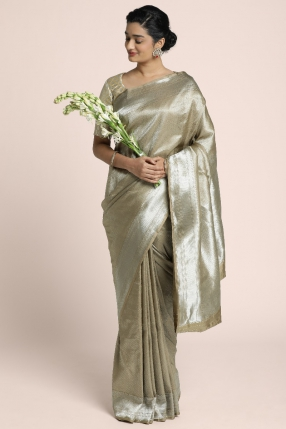 Pure Benarasi saree on Silver zari on Almond shade