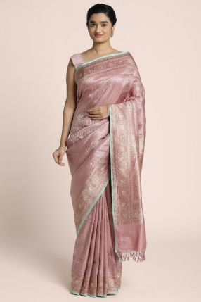 Pure silver woven Benarasi saree on Duty rose silk with finer detailing
