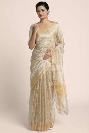 Benarasi light golden and silver stripped saree with golden bhavinchi border