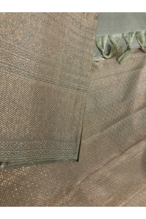Dusty nude green shade with light antique golden jeri fully woven Bridal Kachivaram saree with fully jeri woven brocade blouse