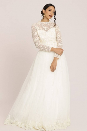 Thread Embroidered Off-White Gown