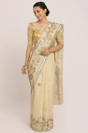 Dull Gold Silk Cotton Saree