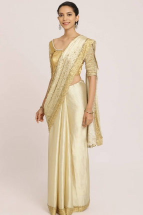 Light Golden Benarasi Pure Silk Tissue Saree