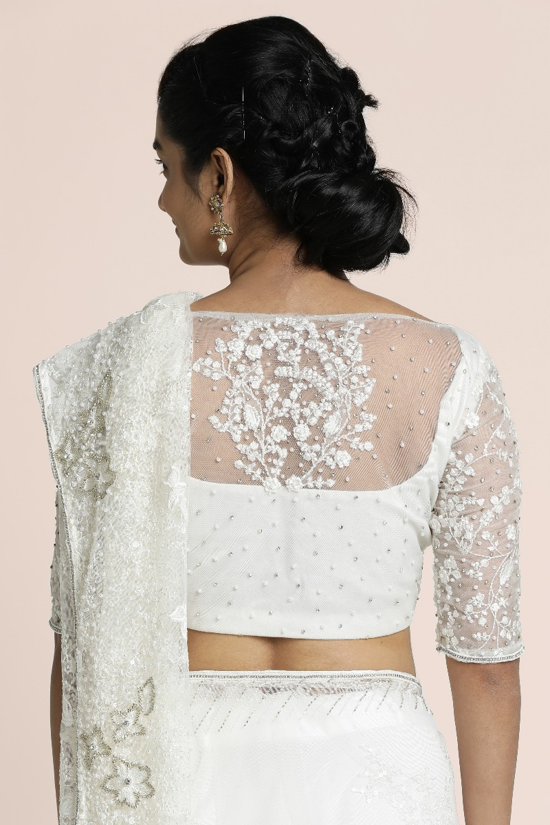 Offwhite Lace saree  with silver cutbead embellished border with scallop edging