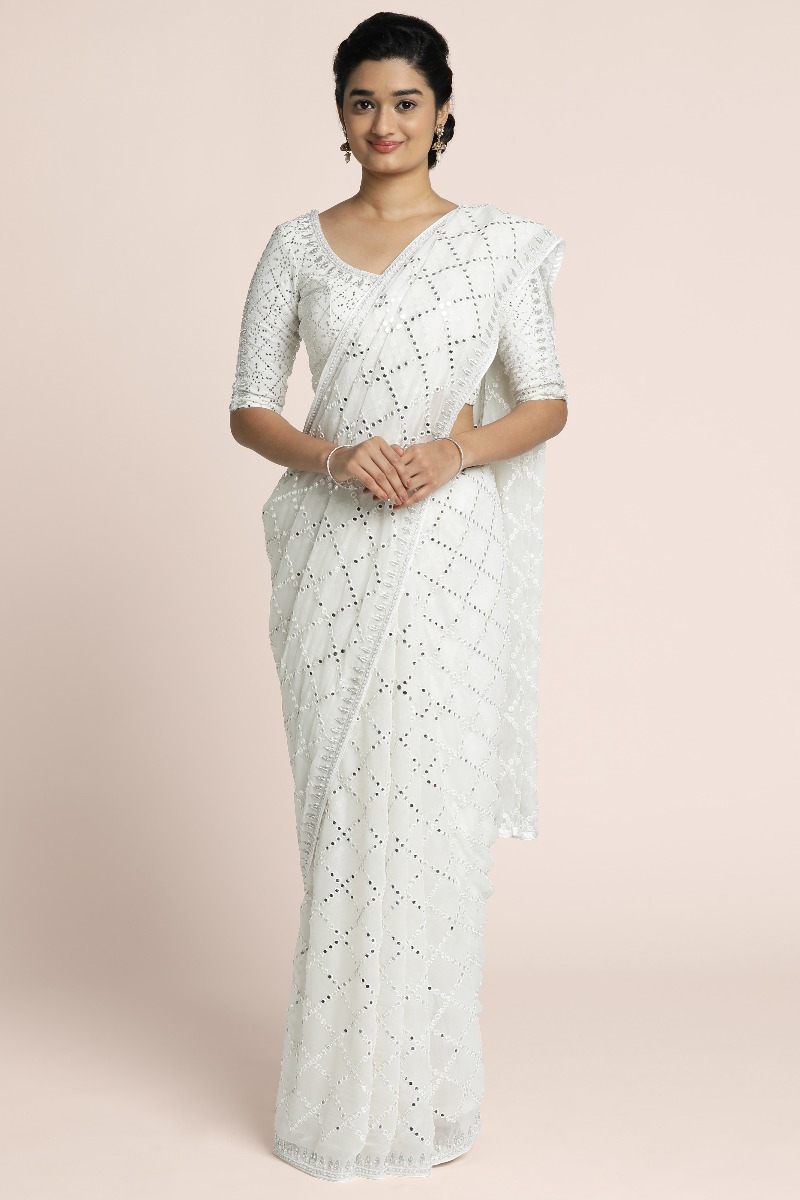 Mirror work thread embroidered georgette saree with handwork borders in silver
