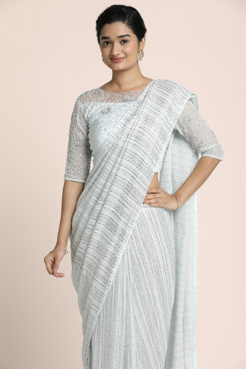 Silver strips of sequin work on light grey georgette with fully sardosi hand embroidered blouse silver on organza