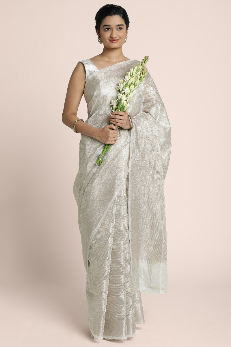 Silver tissue Pure benarasi light gold saree with heavy woven work all over and pallu